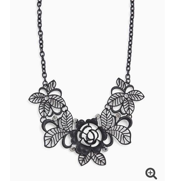 Torrid black metal floral statement necklace